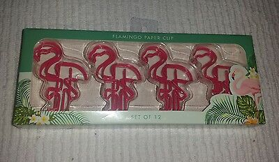 Flamingo Paperclips ~ Page Markers ~ Book Markers ~ Novelty Fun NEW Set of 12