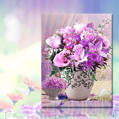 DIY Beautiful Flower Vase 5D Diamond Embroidery Painting Cross Stitch Home Decor
