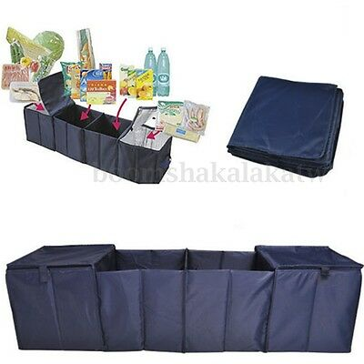 4 Grid Collapsible Foldable Car Trunk Boot Storage Organizer With 2 Cooler Bags