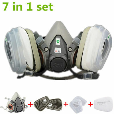 US 7in1 Half Face Mask Gas Spray Painting Facepiece Respirator Set For 3M 6200