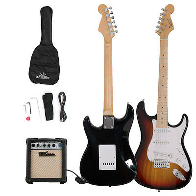 Glarry ST Maple Sunset Electric Guitar with 10w Amp, Case and Accessories Pack