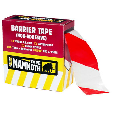 Barrier Tape Hazard Safety Warning Red White Non Adhesive 500m x 72mm
