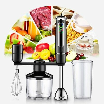 4Pcs 600W Black Electric Food Hand Blender Mixer Whisk Chopper Jug Cup Processor