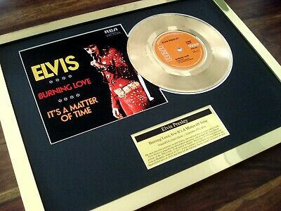 """Elvis Presley Burning Love 24Ct Gold Plated Disc 7"""" Single Record Disc Award"""