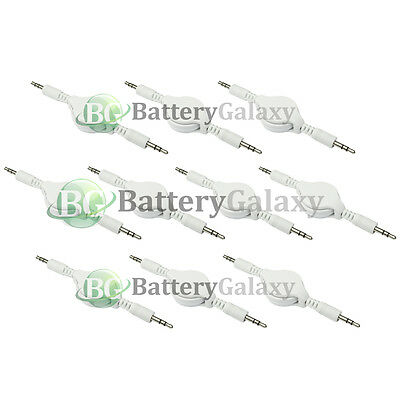 10 Retractable 3.5mm AUX Auxiliary Cable Cord for Apple iPhone 6 6S 7 7S 8 Plus