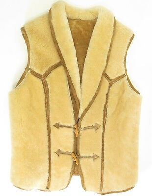 Vintage 70s Shearling Leather Vest Womens 10 Sheepskin California Ranchwear Fur
