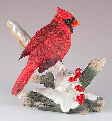 "Cardinal On Snowy Branch Bird Figurine 3.5""H Detailed Polystone New In Box"