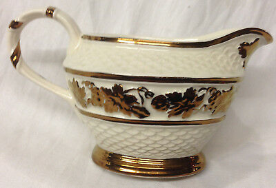Wade Pottery England Creamer 8 Oz Embossed Copper Luster Grapes Leaves