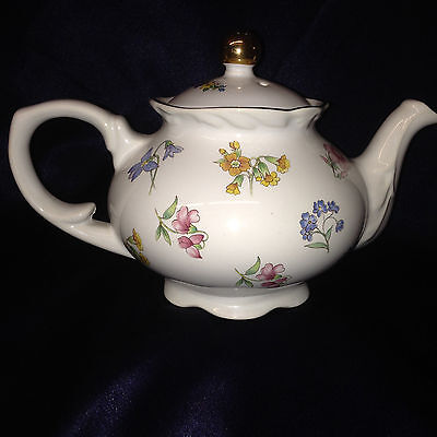 Arthur Wood & Son Blue Red Yellow Floral 6481 Small Teapot & Lid 20 Oz Gold Trim