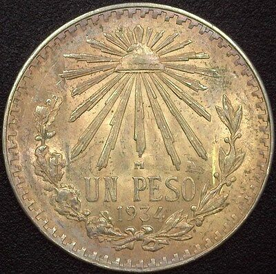Mexico 1934-M Silver Peso  Gem Uncirculated