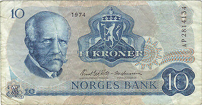 1974 10 Kroner Norway Currency Banknote Note Money Norges Bank Bill Cash Europe