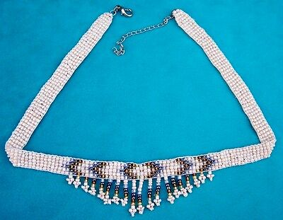 Native American Indian Beaded Choker Necklace Creme