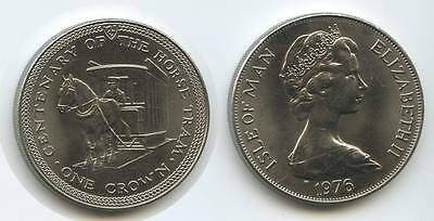 GS316 - Isle of Man One Crown 1976 KM#38 Centenary of Horse Tram Elizabeth II.