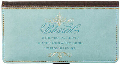 """Checkbook Cover Pale Blue And Brown """"Blessed"""" Luke 1:45 Christian Brand NEW"""