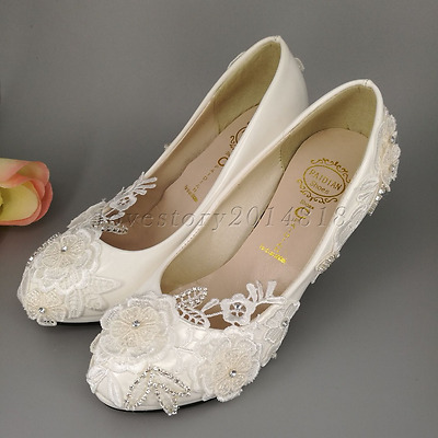 White lace crystal Pearls Wedding shoes Bridal flats high heels pumps size 5-10