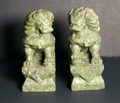 Stone Foo Dogs, Antique, Vintage, Serpentine, Green Stone, Chinese?, NICE
