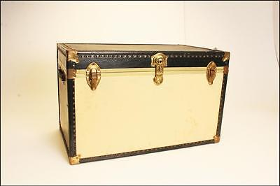 Vintage BLACK STEAMER TRUNK box wood chest coffee table vulcanized storage toy Y