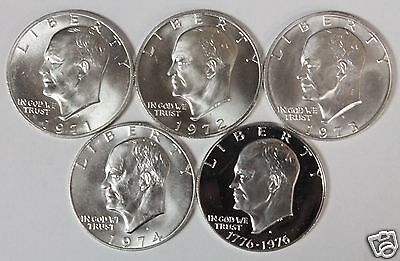 1971-1976 S Eisenhower Ike 40% Silver 5 Coin Set 1971-1974 GEM BU +76 S Proof