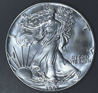 1987 1 oz AMERICAN SILVER EAGLE BRILLIANT UNCIRCULATED ASE  SKU1987B