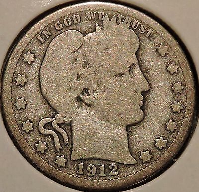 Barber Quarter - 1912-S - Historic Silver! - $1 Unlimited Shipping