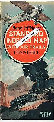1929 Tennessee Rand McNally Standard Indexed Map Guide w Air Trails Airplane Nav