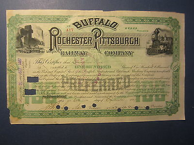 Old 1887 - Buffalo Rochester & Pittsburgh RAILWAY Co. Railroad Stock Certificate