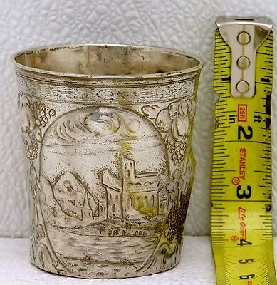 Austria Hungarian Solid Silver Chased Cup w Stork & Goose Marked Pressburg 1784