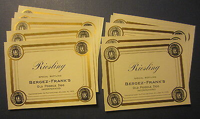 Lot of 10 Old c.1910 Bergez-Frank's OLD POODLE DOG WINE LABELS San Francisco CA.