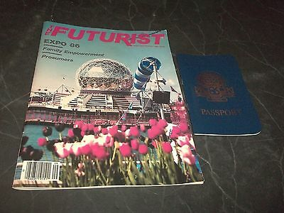 Lot 2 Vintage Futurist Expo magazine & Novelty Passport w Expo Stamps Canada 86