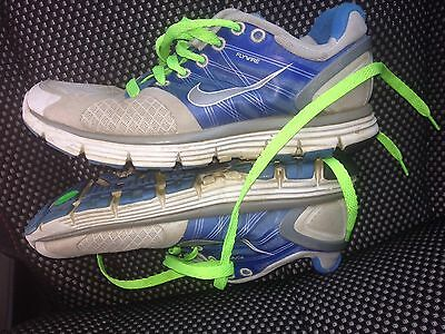 Nike Lunarglide 2 Running Shoes Size 6.5 Workout Women's Blue White Neon