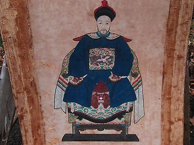 """Large Antique Chinese Ancestral Painting 18Th? 19Th? Century 47.5"""" X 28 Estate"""