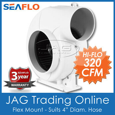 "12V AQUATRACK HEAVY DUTY 320 CFM FLEX MOUNT BILGE AIR BLOWER 4"" HOSE Boat/Marine"