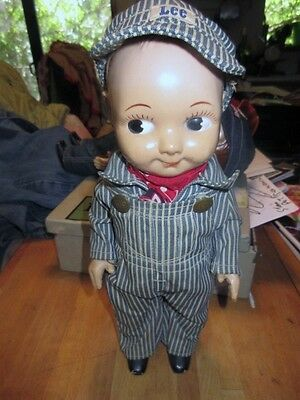 VINTAGE 1950's BUDDY LEE  DOLL RARE  Railroad Engineer Jeans Denim Advertising