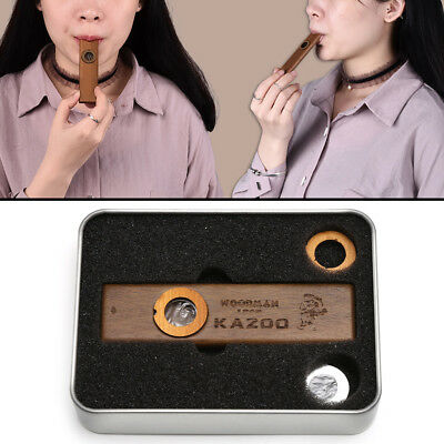 Musical Instrument Harmonica Wooden Kazoo with Metal Padded Box Kids Party Gift
