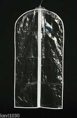 Clear Vinyl Garment Bag w/ Zipper Christening Suit Dress Travel Sz S, M, L, XL