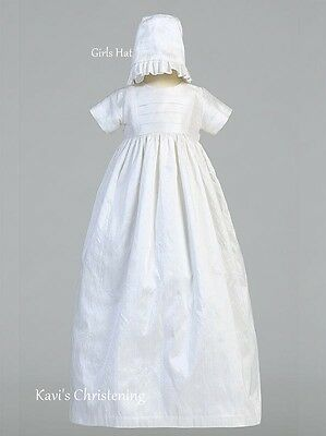 Girl Boys White Christening Family Gown Baptism Dress Silk w/ 2 Hats 0-18M Jamie