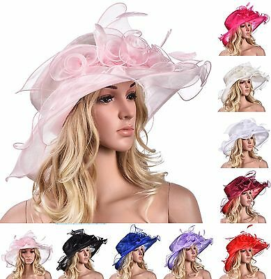 Womens Church Wedding Royal Ascot Ladies' Day Wide Brim Feather Floppy Hat A341
