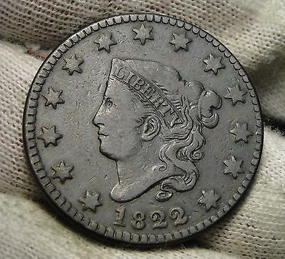 1822 Penny Coronet Large Cent - Nice Coin, Free Shipping  (5625)