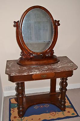 Antique Vintage Wood (oak?) Washstand /Mirror Dressing Table - Marble Top
