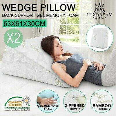 2 Cool Gel Memory Foam Bed Wedge Pillow Cushion Neck Back Support Sleep w/ Cover