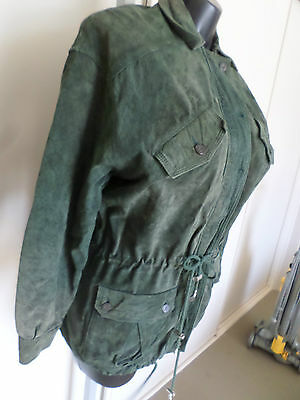 Vintage Authentic Jag Jeans green suede leather jacket  Pig Skin Sz S