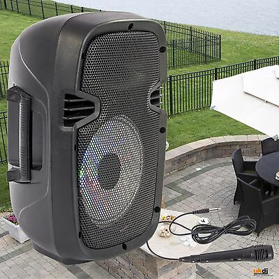 Party DJ Portable Battery PA Sound System 8'' 300w USB Bluetooth & Mic Karaoke