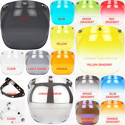 Bubble Visor Sunshield PC or Flip Up Down Adapter for 3 Snap Motorcycle Helmets