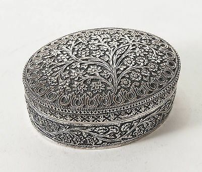 Antique Indian Kashmiri Silver Oval Lidded Box with Floral Design c1880