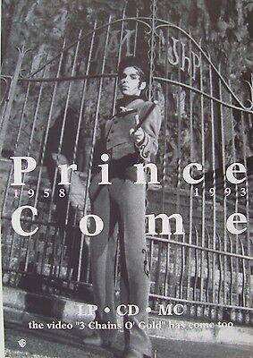 """PRINCE """"COME 1958 - 1993"""" U.K. PROMO POSTER - Prince Standing By Gates With Cane"""