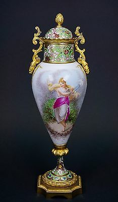 Antique SÈVRES Style 19th Century Porcelain Mounted Urn