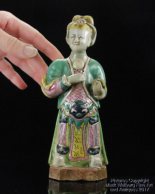 Chinese Famille Rose Porcelain Export Figural Sculpture of an Immortal, 18th C.