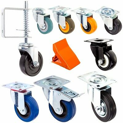 4x Small-Large INDUSTRIAL RUBBER Castor Wheel SWIVEL Soft/Quiet Dolly Furniture
