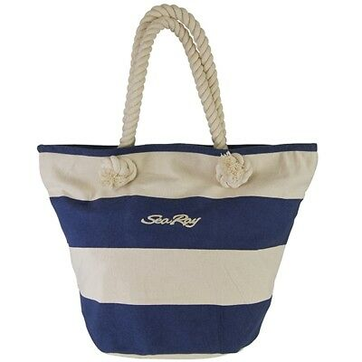 SeaRay Boats 14 oz Canvas Vintage Cabana Tote Navy/Natural