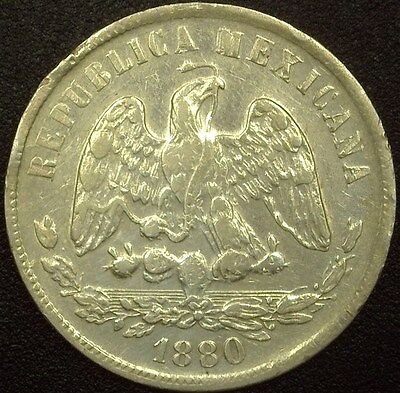 Mexico 1880-Cnd Silver 50 Centavos  About Uncirculated